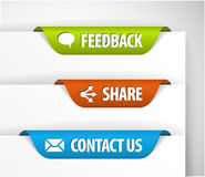 Feedback, Share and Contact Labels. / Stickers on the edge of the (web) page Stock Photos