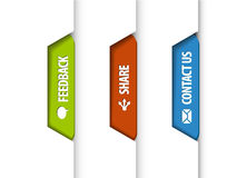 Feedback, share, contact us tabs Stock Photos