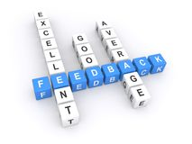 Feedback sign. Letter blocks in crossword puzzle shape spelling, average, good and excellent feedback stock images