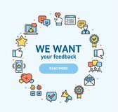 Feedback Signs Round Design Template Thin Line Icon Concept. Vector. Feedback Signs Round Design Template Color Thin Line Icon Concept Frame or Border for Text stock illustration