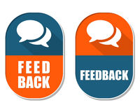 Feedback and speech bubbles signs, two elliptical labels. Feedback and speech bubbles symbols, two elliptic flat design labels with icons, business and Stock Photos