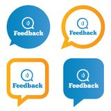 Feedback speech bubbles with smile. Feedback tags. Feedback stickers. Vector illustration Stock Photography