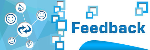 Feedback Squares Separator Blue Banner Royalty Free Stock Photos
