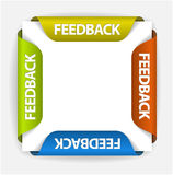 Feedback stickers. Feedback Labels / Stickers on the edge of the (web) page Stock Image