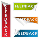 Feedback stickers. Curved corner feedback stickers over white Stock Images