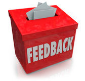Feedback Suggestion Box Collecting Thoughts Ideas. A red Feedback box for collecting employee or customer ideas, thoughts, comments, reviews, ratings vector illustration