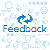 Feedback with Symbols - Blue. An image with Feedback text and related symbols vector illustration