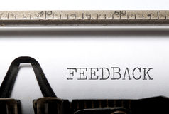 Feedback. Title printed on a typewriter royalty free stock images