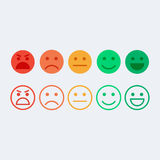 Feedback vector concept. Rank, level of satisfaction rating. Feedback in form of emotions, smileys, emoji. User experience. Customer feedback. Review of stock illustration