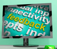 Feedback Word Cloud Screen Shows Opinion Evaluation And Surveys Royalty Free Stock Images