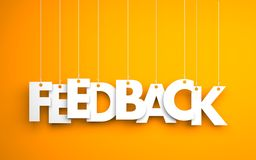Feedback word - hanging on rope. Orange background Royalty Free Stock Image
