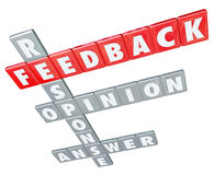 Feedback Word Letter Tiles Response Opinion Answer Rating. The words Feedback, Response, Opinion and Answer on letter tiles to illustrate the importance of Stock Photography