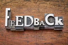 Feedback word in metal type Royalty Free Stock Photo