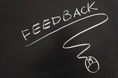 Feedback word and mouse symbol Stock Image
