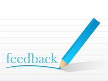 Feedback written on a notepad paper. Stock Images