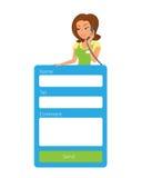 Feedbackform für Website mit weiblicher Empfangsdame Lizenzfreie Stockbilder