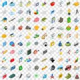 100 Feedbackikonen eingestellt, isometrische Art 3d Lizenzfreie Stockbilder