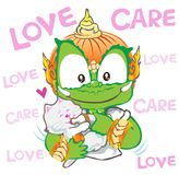 Feedding cat Thai giant cartoon character design cute acting. Feedding milk to cat or kitten he care and love be happy with friendship, his hand has orange, Thai Stock Photo