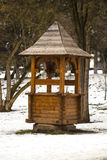 Feeder for animals in the forest. Snowy winter Stock Photo
