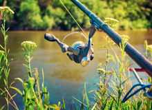 Feeder - English fishing tackle for catching fish. Royalty Free Stock Photo