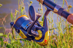 Feeder - English fishing tackle for catching fish. Stock Photo