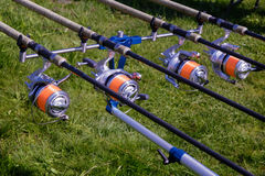 Feeder - English fishing tackle for catching fish. Royalty Free Stock Photography