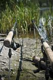 Feeder method fishing rods. Feeder method sport fishing rods royalty free stock image
