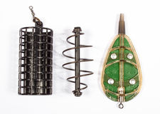 Feeders for fishing on a white background. Method feeder. Royalty Free Stock Photography