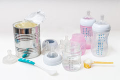 Feeding baby accessories - bottles, nipples, teats. Feeding baby accessories - bottles, nipples Stock Images