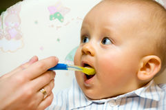 Feeding baby boy Stock Photo