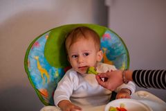Feeding baby with vegetables -cute baby refuses to eat broccoli royalty free stock photo