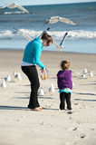 Feeding birds at the beach. Mother and daughter at the beach Royalty Free Stock Photography