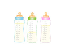Feeding bottle, milk bottle, baby milk Royalty Free Stock Photo