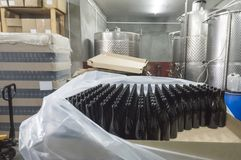 Feeding bottles to the conveyor for further bottling. Of wine stock image