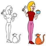 Feeding Cat Royalty Free Stock Image