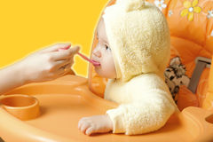 Feeding cute baby boy Royalty Free Stock Photo