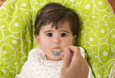 Feeding a cute Lovely Baby Girl Royalty Free Stock Image