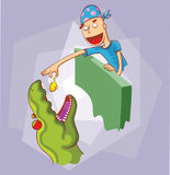 Feeding dinosaur. Illustration in vector eps 10 file Stock Photo