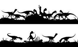 Feeding dinsosaurs Royalty Free Stock Images