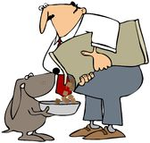 Feeding The Dog. This illustration depicts a man pouring food into a dogs bowl Royalty Free Stock Photo