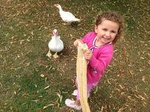 Feeding the ducks! Stock Photo