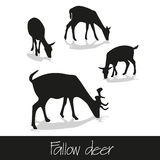 Feeding fallow deer silhouette of animal icons Royalty Free Stock Image