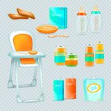 Feeding Infant Transparent Set. Baby food realistic 3d transparent collection of isolated essential elements for feeding infant with high chair vector Stock Photos