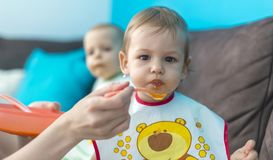 Feeding little baby twins. Parenthood concept - mother with puree and spoon feeding little baby twins at home Royalty Free Stock Photo