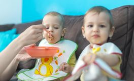 Feeding little baby twins. Parenthood concept - mother with puree and spoon feeding little baby twins at home Royalty Free Stock Images