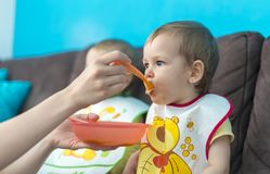 Feeding little baby twins. Parenthood concept - mother with puree and spoon feeding little baby twins at home Stock Images