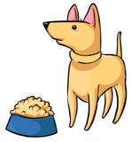 Feeding the pet - Dog and a bowl of food. Cartoon animal Stock Image
