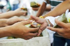 Feeding the poor Helping each other in society.  Stock Photography