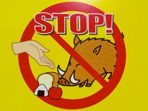 Feeding prohibition sign of wild boars in Japan stock photography