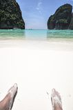 Feeds on Beach View of Maya Bay, Phi Phi island, Thailand Royalty Free Stock Photos